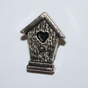 Cute little vintage silver birdhouse pin